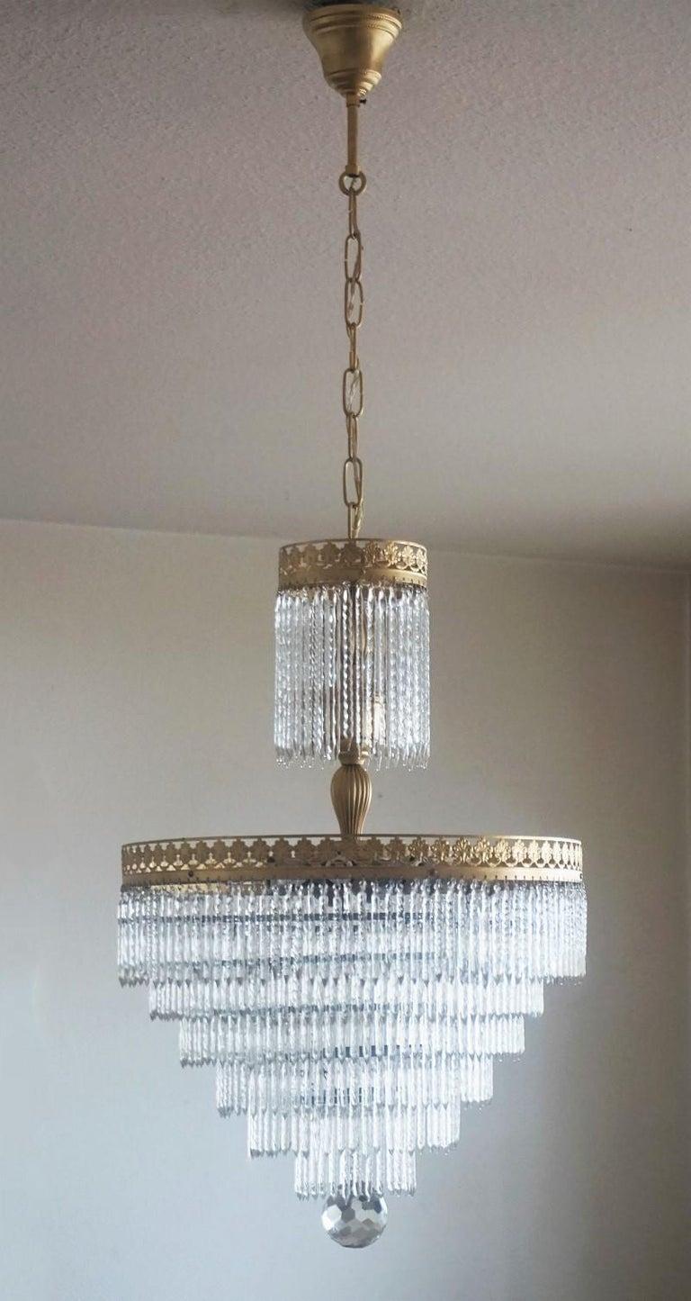 Art Deco Midcentury Italian Murano Crystal Waterfall Seven-Light Chandelier For Sale