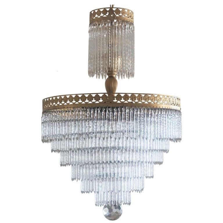 Midcentury Italian Murano Crystal Waterfall Seven-Light Chandelier For Sale