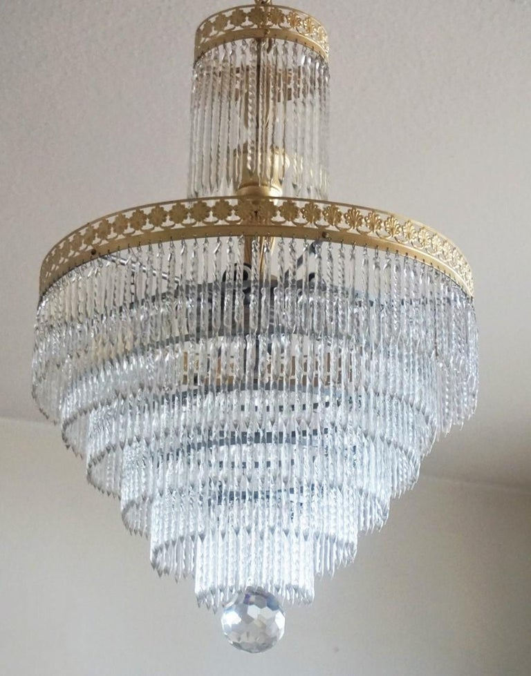 Art Deco Midcentury Italian Murano Crystal Waterfall Seven-Light Flush Mount, Chandelier
