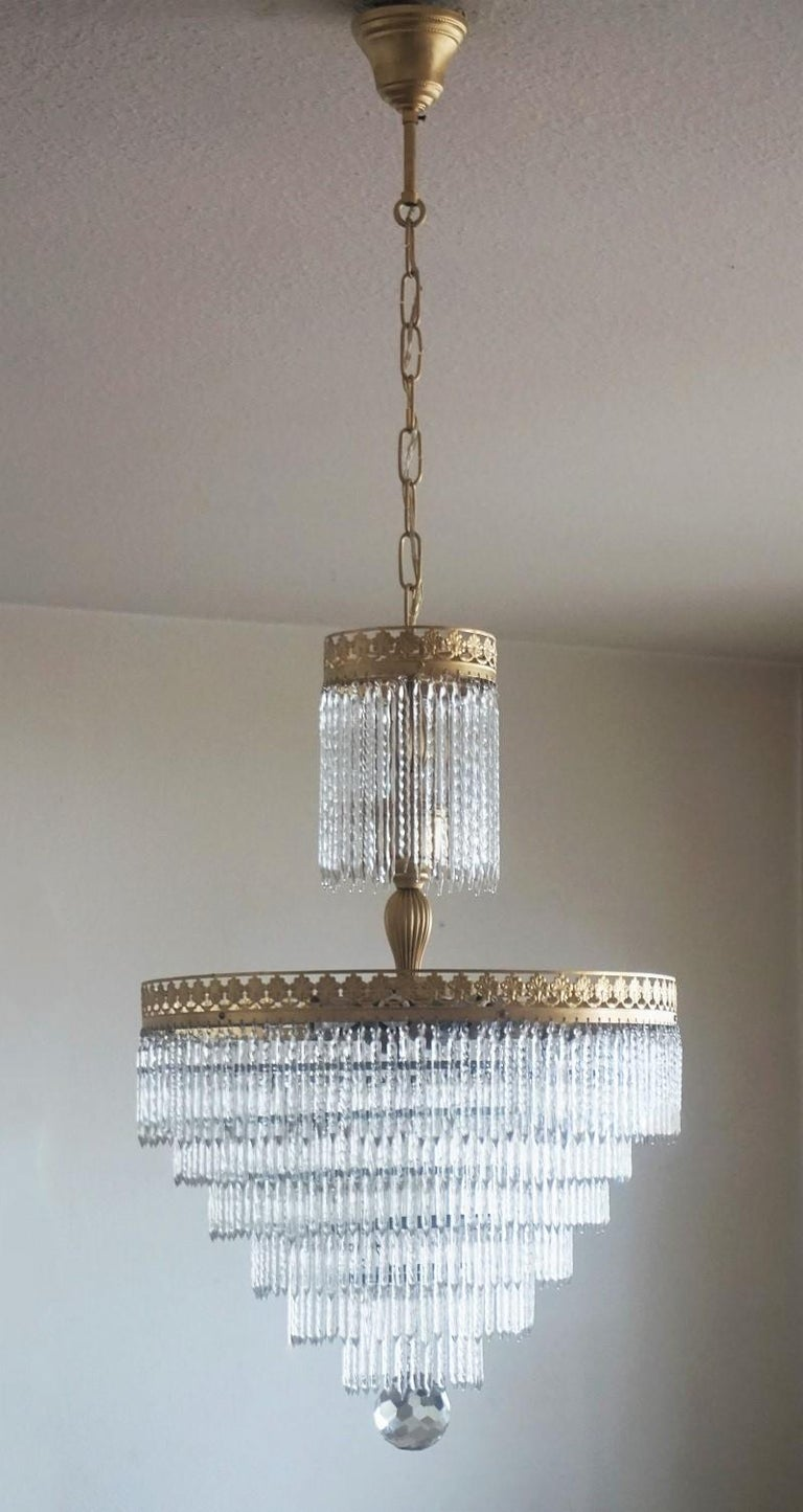 20th Century Midcentury Italian Murano Crystal Waterfall Seven-Light Flush Mount, Chandelier