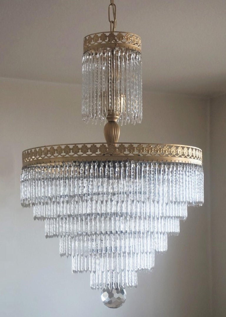 Brass Midcentury Italian Murano Crystal Waterfall Seven-Light Flush Mount, Chandelier