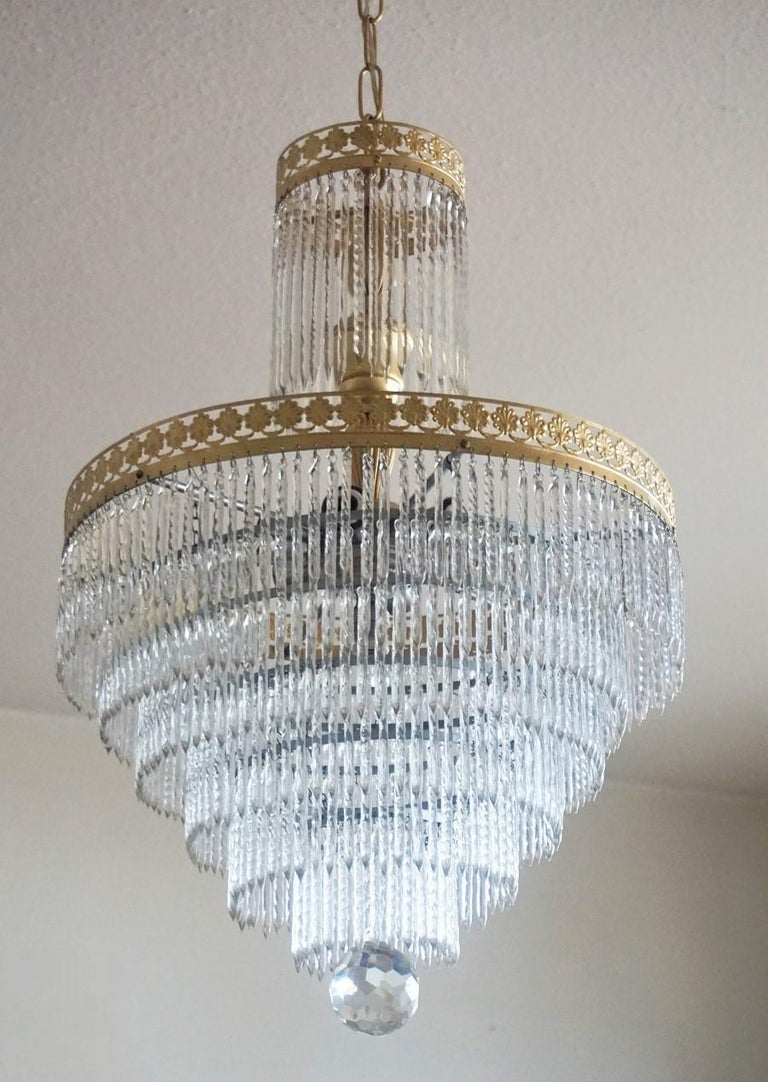 Midcentury Italian Murano Crystal Waterfall Seven-Light Flush Mount, Chandelier 1