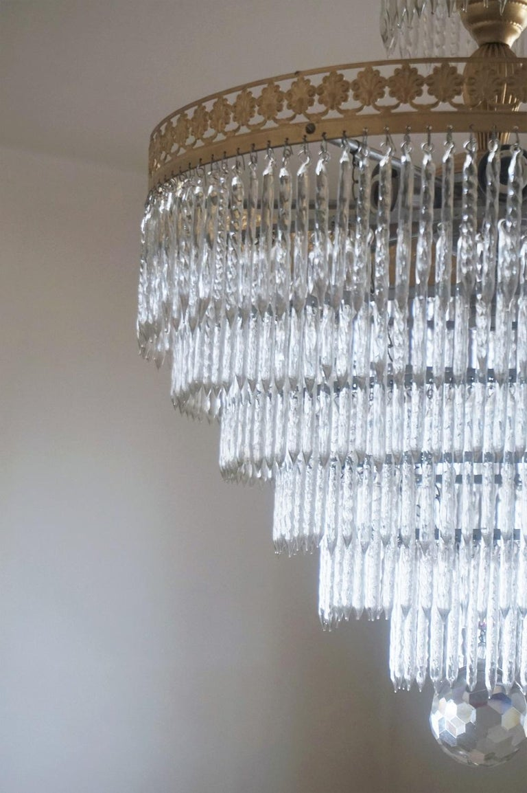 Midcentury Italian Murano Crystal Waterfall Seven-Light Flush Mount, Chandelier 3