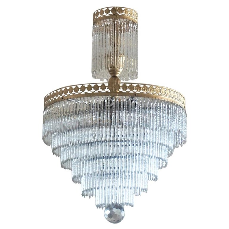 Midcentury Italian Murano Crystal Waterfall Seven-Light Flush Mount, Chandelier