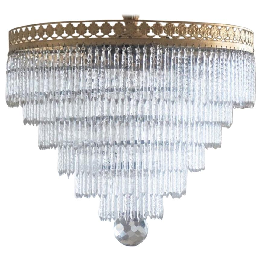 Midcentury Italian Murano Crystal Waterfall Six-Light Ceiling Light, Chandelier