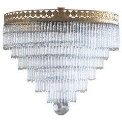 Midcentury Italian Murano Crystal Waterfall Six-Light Ceiling Light, Chandelier