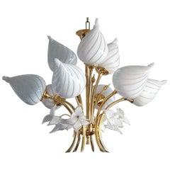 Midcentury Italian Murano Glass Brass Nine-Light Bouquet Chandelier, 1960s