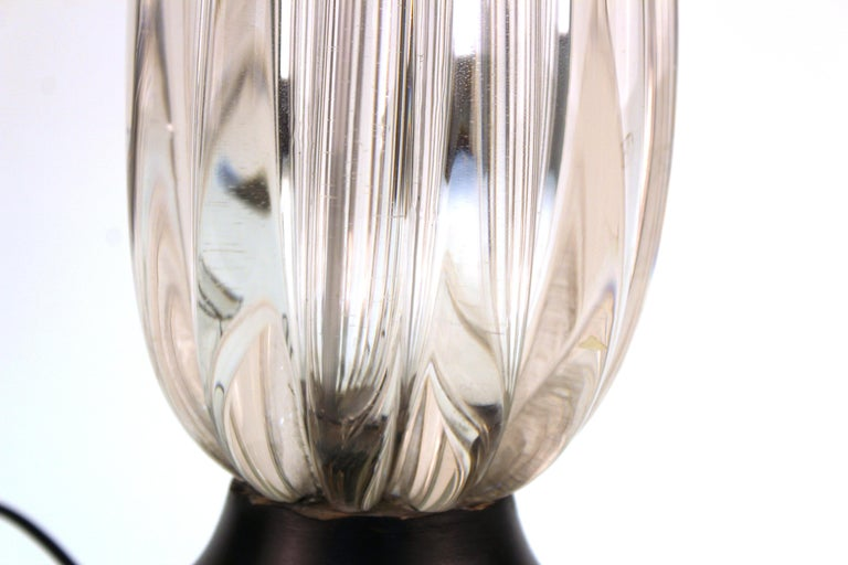 Midcentury Italian Murano Glass Table Lamp For Sale 1