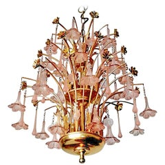 Midcentury Italian Murano Pink Glass Flowers Waterfall Wedding Cake Chandelier