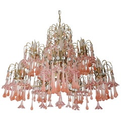 Midcentury Italian Murano Pink Glass Flowers Waterfall Wedding Cake Chandelier