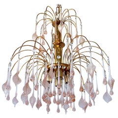 Midcentury Italian Murano Pink Glass Leaves Waterfall Wedding Cake Chandelier