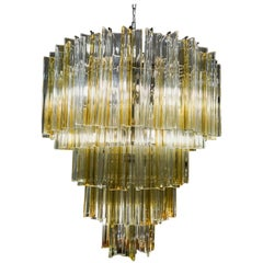 Midcentury Italian Murano Venini White and Yellow Crystal Chandelier, 1970s