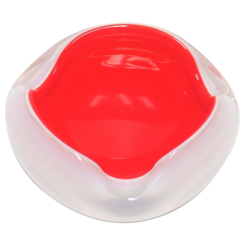Italian Murano White and Red Art Glass Bowl