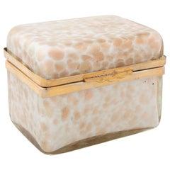 Midcentury Italian Murano White Opaline Aventurine Cased Glass Box