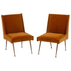 Midcentury Italian Mustard Velvet Chairs, Set of 2