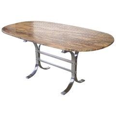Midcentury Italian Oval Breccia Medicea Marble and Chrome Table, circa 1960