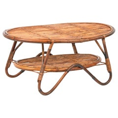 Midcentury Italian Oval Rattan and Bamboo Two Levels Coffee Table, 1950s