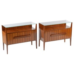 Midcentury Italian Pair of Nightstands or Side Tables with Glass Top, 1950
