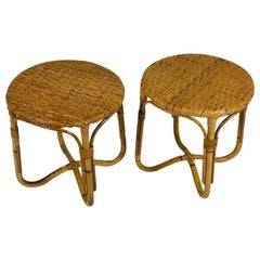 Midcentury Italian Pair of Rattan Bamboo Side Tables or Stools