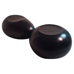 Midcentury Italian Pair of Solid Black Lacquered Wood Sculptural Seating, 1970s