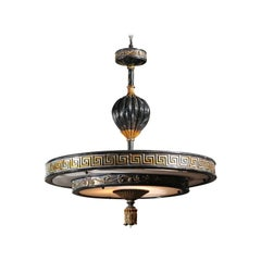 Midcentury Italian Parcel-Gilt Carved Wood Chandelier with Greek Key Frieze