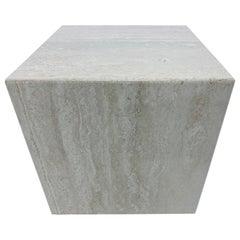 Midcentury Italian Polished Travertine Cube Side Table, 1970s