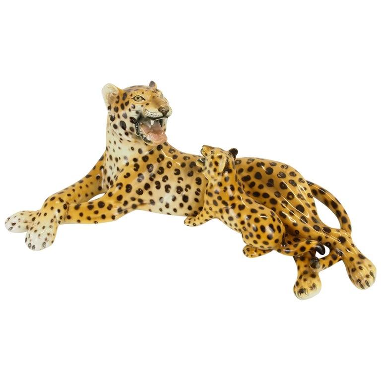 Midcentury Italian Porcelain Leopard Statuette Favaro Cecchetto Attributed