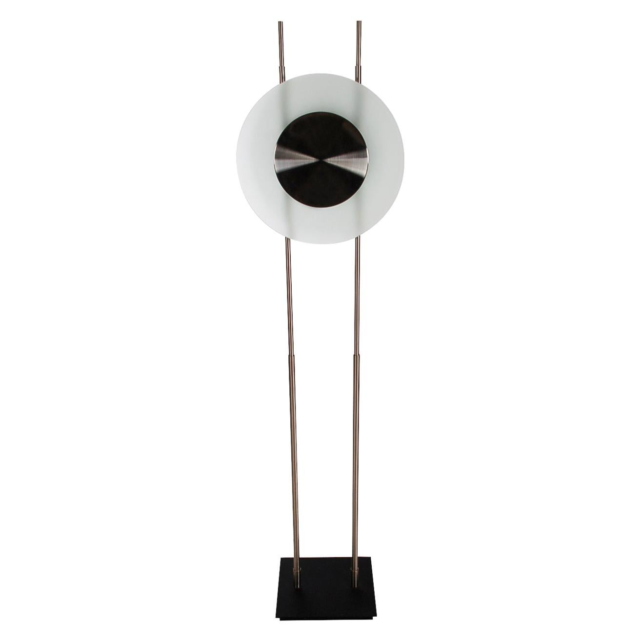 Midcentury Italian Postmodern Steel & Frosted Glass Floor Lamp after Sottsass