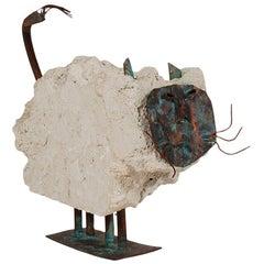 Midcentury Italian Postmodern Concrete Table or Floor Cat Sculpture
