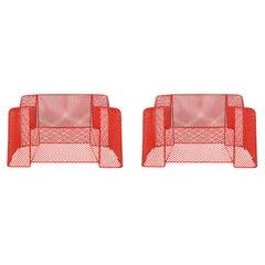 Midcentury Italian Postmodern Red Mesh Wire Indoor Outdoor Patio Lounge Chairs