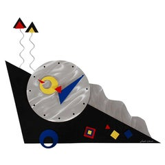 Midcentury Italian Postmodern Wall Clock in Mondrian Complementary Colors