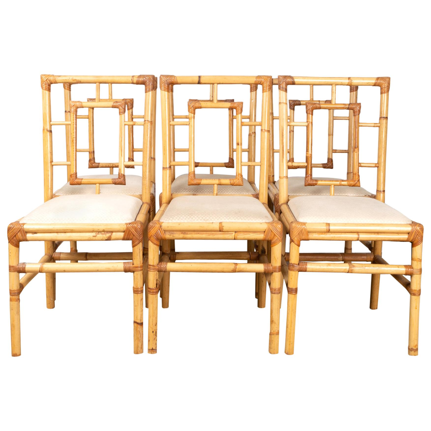 Midcentury Italian Rattan and Bamboo Dining Chairs by Dal Vera, circa 1960