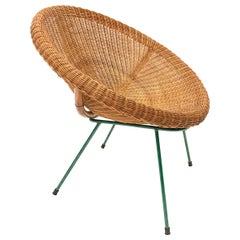Midcentury Italian Rattan and Bamboo Shell Armchair with Green Metal Legs, 1950s