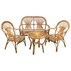 Midcentury Italian Rattan and Bamboo Sofa, Pair of Armchairs and Coffee Table