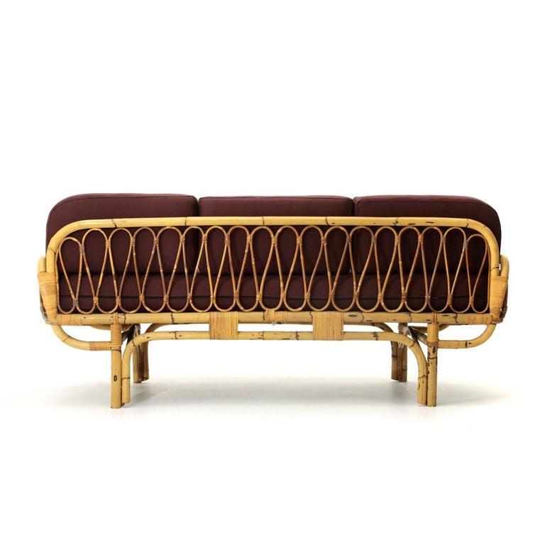 Midcentury Italian Rattan Sofa Bed