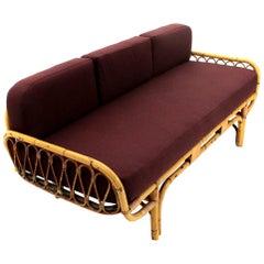 Midcentury Italian Rattan Sofa Bed, 1950s