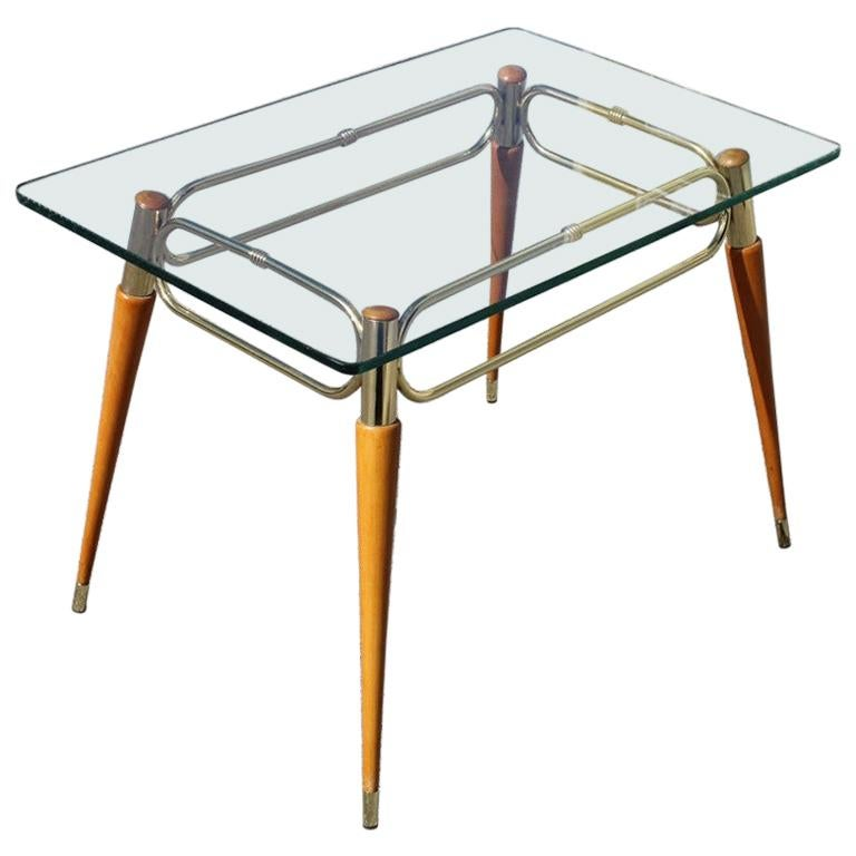 Midcentury Italian Rectangular Coffee Table in Brass and Maple with Glass Top For Sale