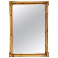Midcentury Italian Rectangular Mirror with Bamboo Woven Wicker Frame, 1970s