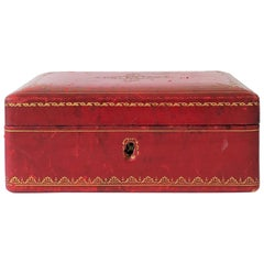 Midcentury Italian Red Leather Jewelry Box