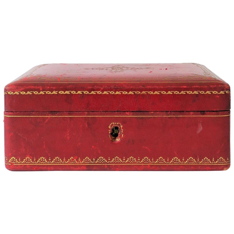 b26c08157916 Midcentury Italian Red Leather Jewelry Box at 1stdibs
