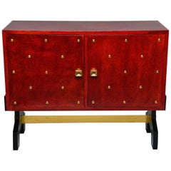 Midcentury Italian Red Parchment Chest with Brass Studs