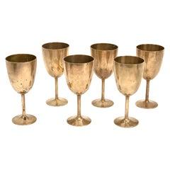 Midcentury Italian Regency Solid Brass Chalices, 1980s