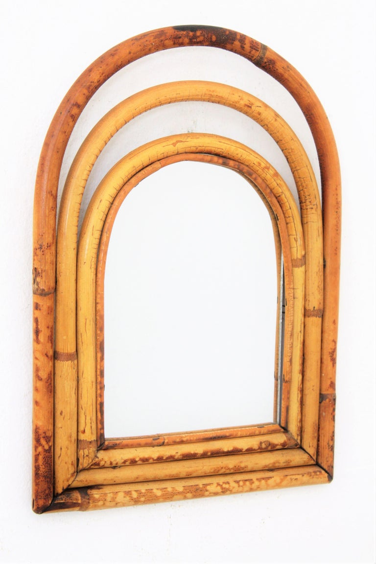 Mid-Century Modern Franco Albini Style Mini Sized Semioval Bamboo Mirror For Sale