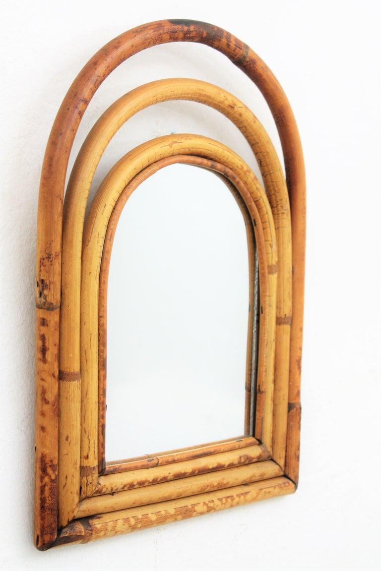 Italian Franco Albini Style Mini Sized Semioval Bamboo Mirror For Sale