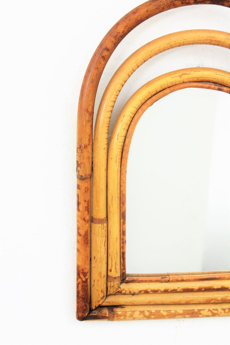 Hand-Crafted Franco Albini Style Mini Sized Semioval Bamboo Mirror For Sale