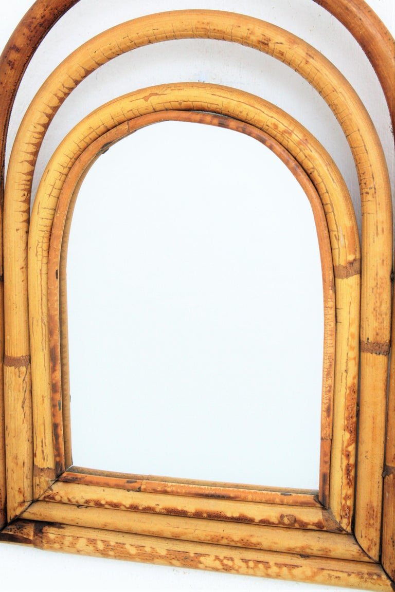 Mid-20th Century Franco Albini Style Mini Sized Semioval Bamboo Mirror For Sale