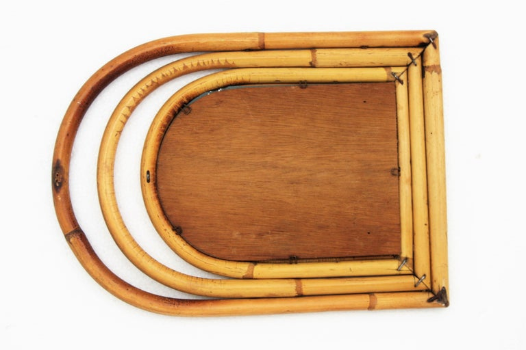 Franco Albini Style Mini Sized Semioval Bamboo Mirror For Sale 1