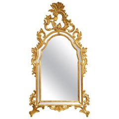 Midcentury Italian Rococo Style Richly Carved Gilt Wood Wall Mirror