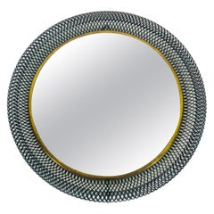 Midcentury Italian Round Black Metal and Brass Mirror, Italy, 1960s