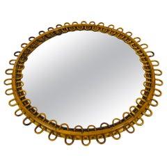 Midcentury Italian Round Bamboo Mirror, Italy, 1960s